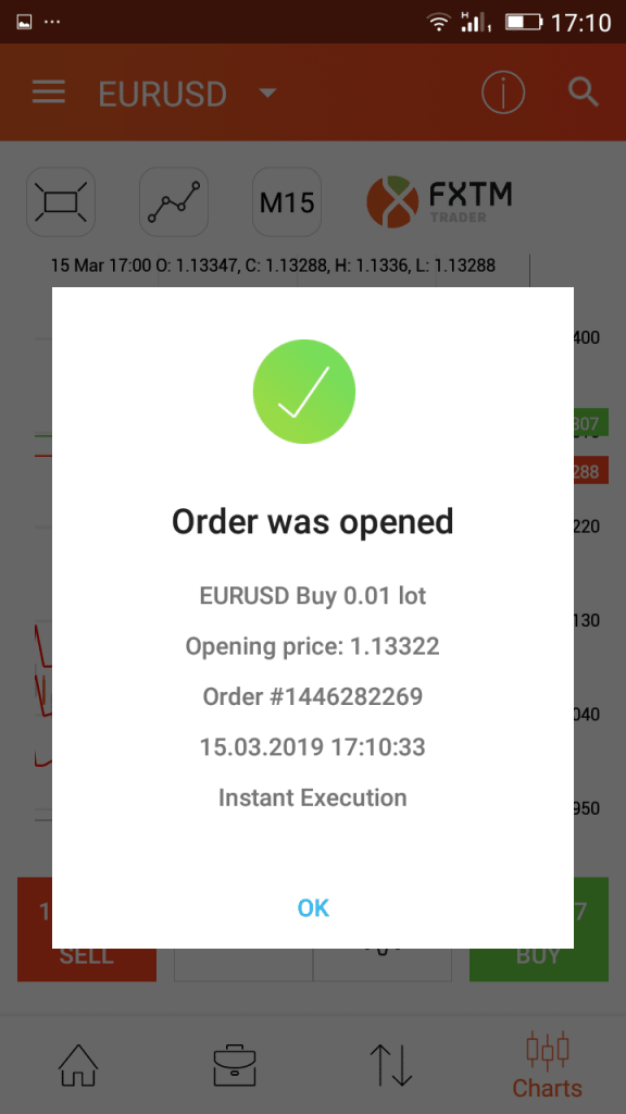 FXTM app open order