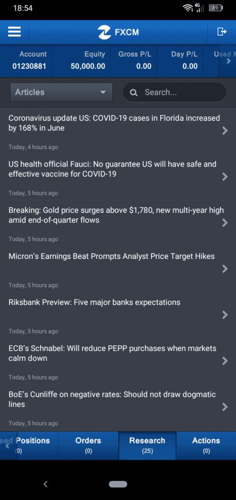FXCM App Screenshot of Articles