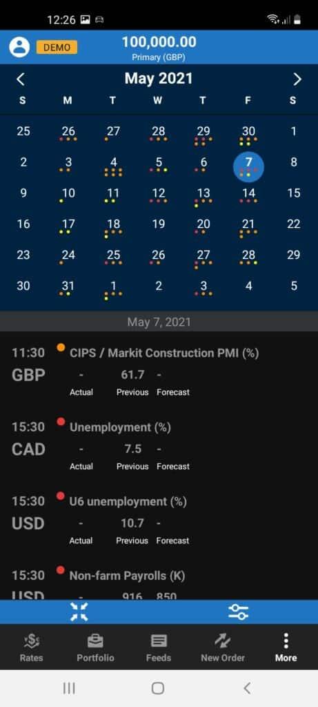 Oanda Mobile Trading App Screenshot